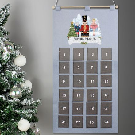 Personalised Nutcracker Grey Felt Advent Calendar